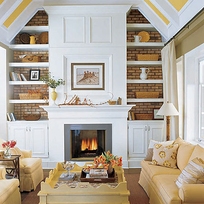 living rooms - built-ins fireplace sofas coffee table yellow white living room  Lovely!    Lovely built-ins:  cabinets and shelves! White & yellow