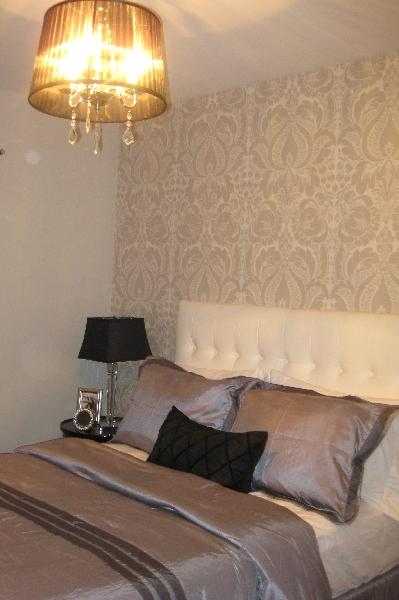Gray Damask Wallpaper  Contemporary  bedroom  Benjamin