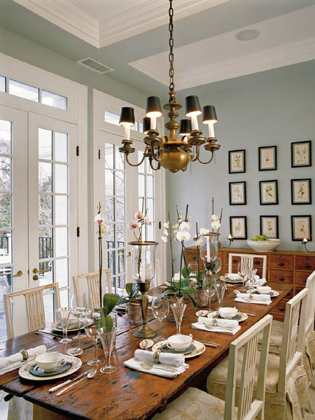 dining rooms - blue gray walls French doors brass chandelier farmhouse dining table art  dining room  soft blue gray walls, brass chandelier,