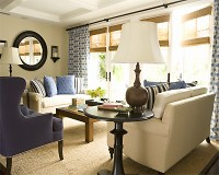 Navy Wingback Chair - Transitional - living room