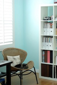 Turquoise Wall Paint - Transitional - den/library/office ...