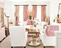 Pink Drapes - Transitional - living room