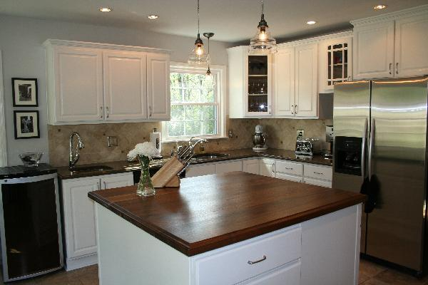 Two-tone Oak Kitchen Cabinets Walnut Kitchen Island - Transitional - Kitchen - Sherwin