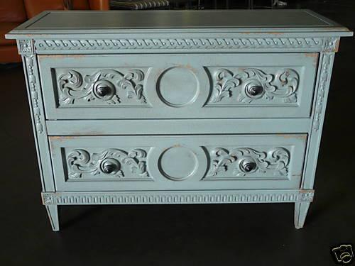 Shabby Chic Grey Blue Painted Hollywood Regency Chest Draper