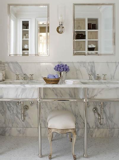 Double Marble Washstand  Transitional  bathroom  Phoebe Howard