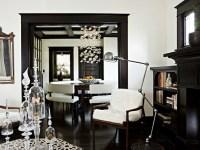 Dark Brown Wood Moldings - Transitional - living room ...