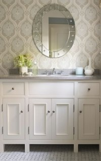 Blue and Gray Wallpaper - Traditional - bathroom - James ...