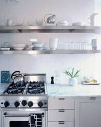 Floating Stainless Steel Shelves Kitchen - Transitional ...