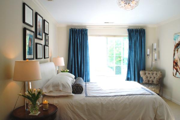 Blue Curtains  Transitional  bedroom  Benjamin Moore Feather Down  Teresa Meyer Interiors