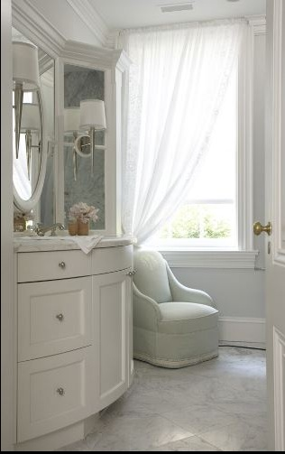 Diy 20 carrara marble accent table the stillwater story - Accent color for gray and white bathroom ...