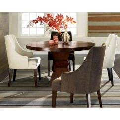 Dining Set With 8 Chairs Rigby Accent Chair And Ottoman Ophelia Round Brown Wooden Table 4 Curved Arm
