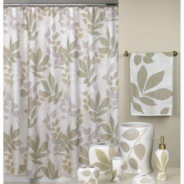 Gray Leaves Silhouette Shower Curtain