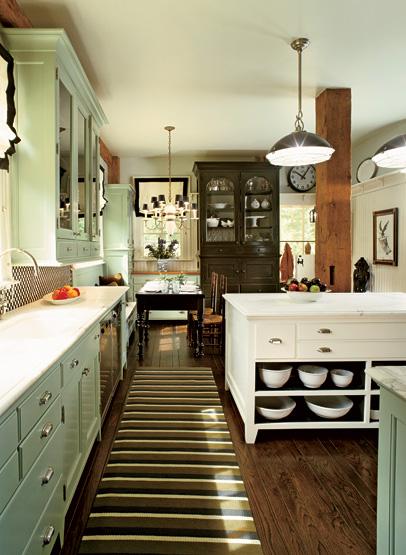 Green Kitchen Cabinets  abinets  Cottage  kitchen