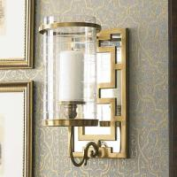 Brass Fretwork Mirrored Sconce