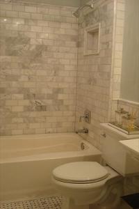 Carrera Marble Subway Tiles - Transitional - bathroom ...