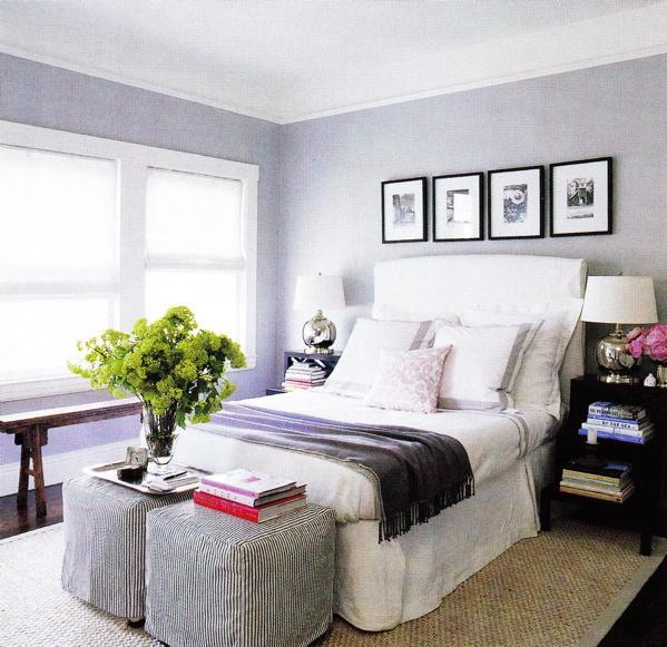 Monelle Totah White Purple Bedroom Design With Slip Covered Headboard Black Step Side Tables Bedding Trim Pillows