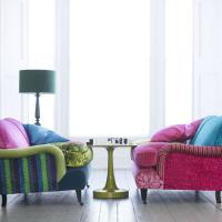 Green Striped Sofa - Eclectic - living room - Living Etc