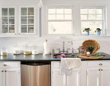 white kitchen cabinets with subway tile backsplash Subway Tile Backsplash - Transitional - kitchen