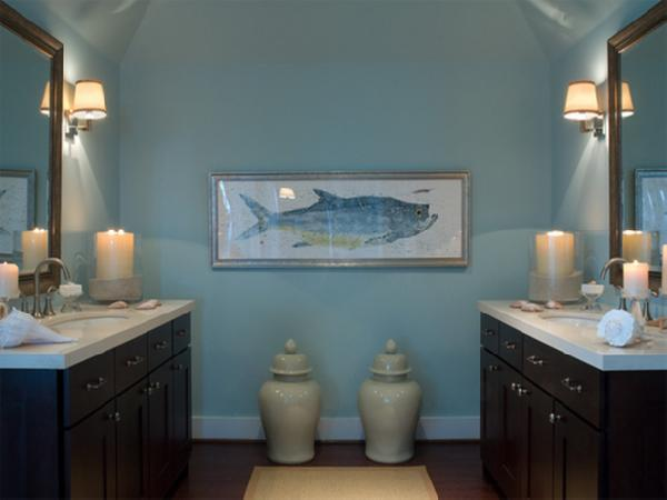 large ginger jars espresso bathroom vanities stone countertops and blue walls paint color
