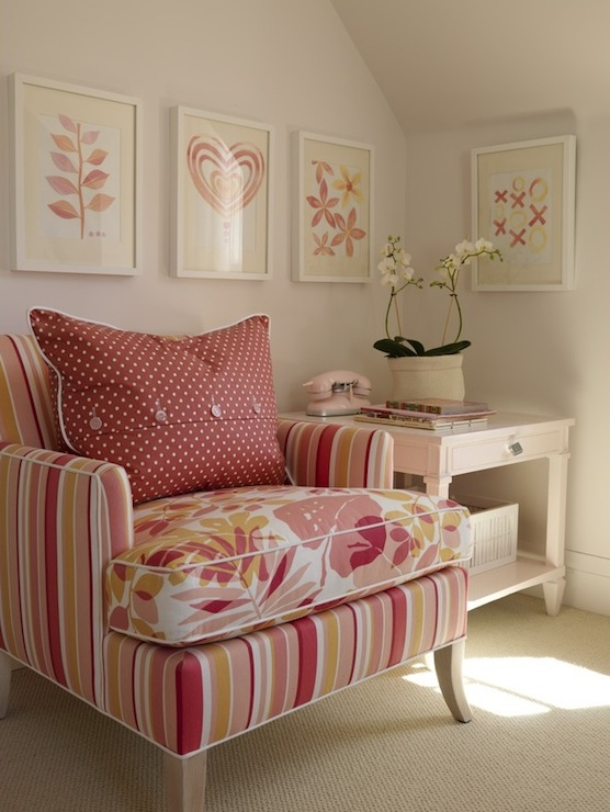 Pink and Orange Chair  Contemporary  bedroom  Sarah