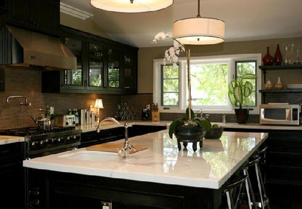Black Kitchen Cabinets With White Marble Countertops Contemporary