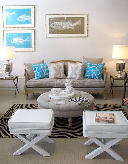 grey white turquoise living room open and kitchen paint ideas faux croc stool contemporary