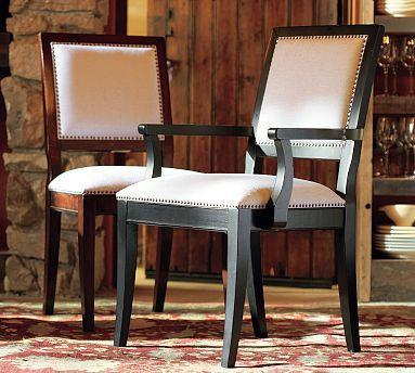 upholstered chair with nailhead trim swimways premium canopy nail-head - pottery barn