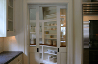 Pantry with Pocket Doors - Transitional - kitchen ...