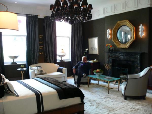 Black Curtains  Contemporary  bedroom