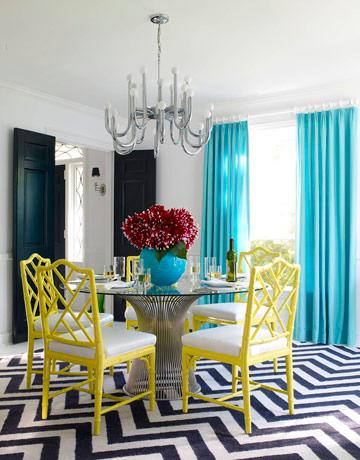 Teal Blue Curtains  Contemporary  dining room  Jonathan Adler