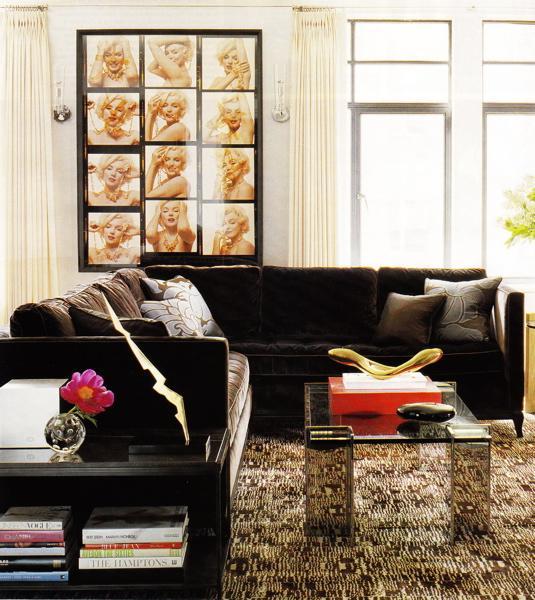 Brown Velvet Sectional  Transitional  living room