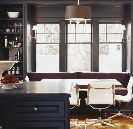 Black Built In Banquette  Contemporary  dining room