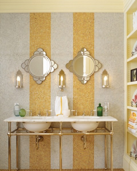yellow and grey bathroom mirror Gray Yellow Bathroom Design Ideas