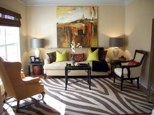 Zebra Rug  Transitional  living room  Emily A Clark