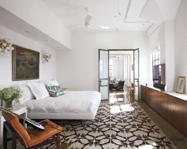 White Platfor Bed  Contemporary  bedroom  Elle Decor