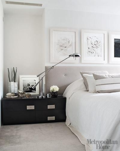 Black Lacquered Bedside Table  Contemporary  bedroom