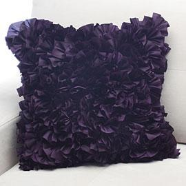 Bianca Purple Plum Ruffled Accent Pillow