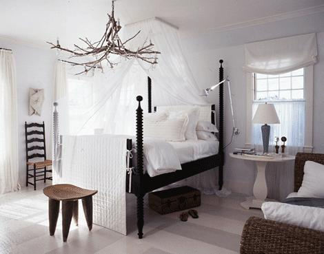 Crystal Branch Chandelier Modern Black Poster Bed Crisp White Bedding Tree Round Accent Table Nightstand Stool