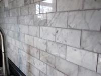 Carrara Marble Subway Tile - Transitional - kitchen ...