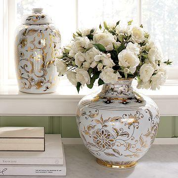 WilliamsSonoma Home  Gold  White Ginger Jars