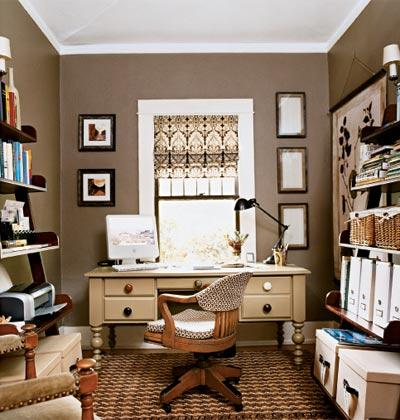 home office paint color ideas Taupe Walls - Traditional - den/library/office