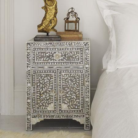 Grey  Mother of Pearl Bedside Table  Graham and Green
