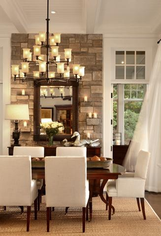 Stone Accent Wall  Transitional  dining room  Pineapple
