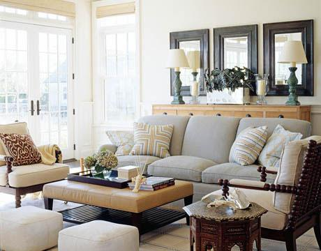 turquoise leather chair and ottoman william sonoma covers dove gray sofa - cottage living room