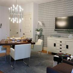 Accent Chairs Gray Pattern Small Bedroom Chair Uk Hicks Hexagon Wallpaper - Contemporary Basement Sarah Richardson Design