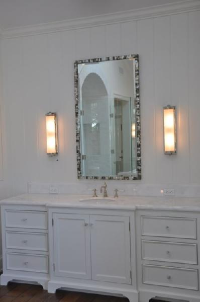 Mother of Pearl Tiles  Transitional  bathroom  Real