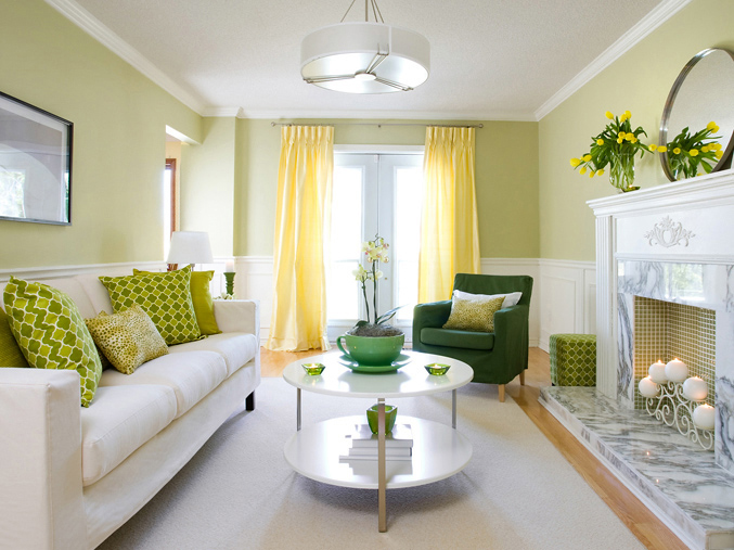 Yellow and Green Living Room