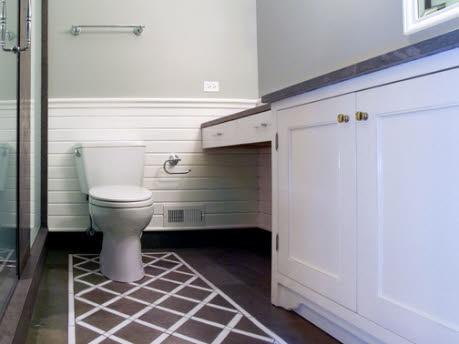 Painted Floor  Contemporary  bathroom