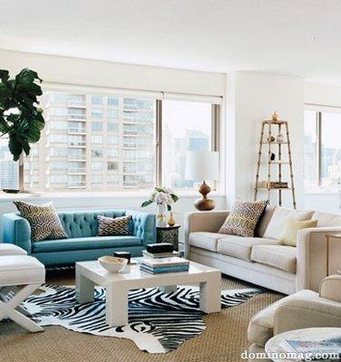 Turquoise Tufted Sofa Contemporary Living Room