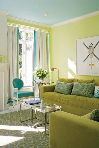 yellow upholstered accent chair modern chairs turquoise sofa - contemporary living room katie rosenfeld design